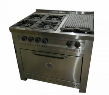 Cocina línea gastronómica 4 hornallas + plancha bifera